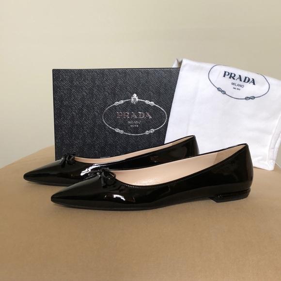 b79e88694 Prada Shoes | Pointed Bow Toe Ballet Flats Size Eu 375 | Poshmark